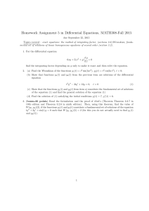 Homework Assignment 5 in Differential Equations, MATH308-Fall 2015