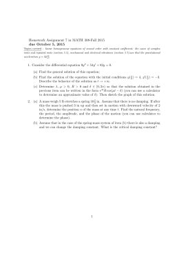 Homework Assignment 7 in MATH 308-Fall 2015 due October 5, 2015