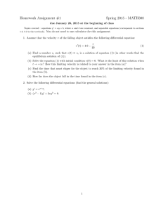 Homework Assignment #1 Spring 2015 - MATH308