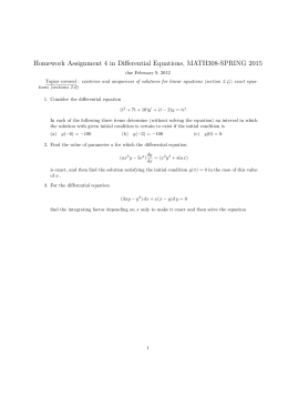 Homework Assignment 4 in Differential Equations, MATH308-SPRING 2015
