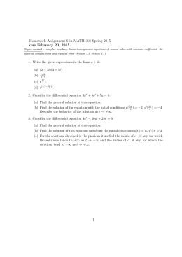 Homework Assignment 6 in MATH 308-Spring 2015 due February 20, 2015