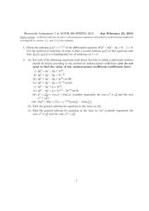 Homework Assignment 7 in MATH 308-SPRING 2015 due February 25, 2015