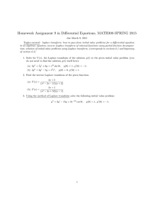 Homework Assignment 9 in Differential Equations, MATH308-SPRING 2015
