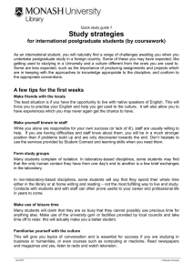 Study strategies for international postgraduate students (by coursework)