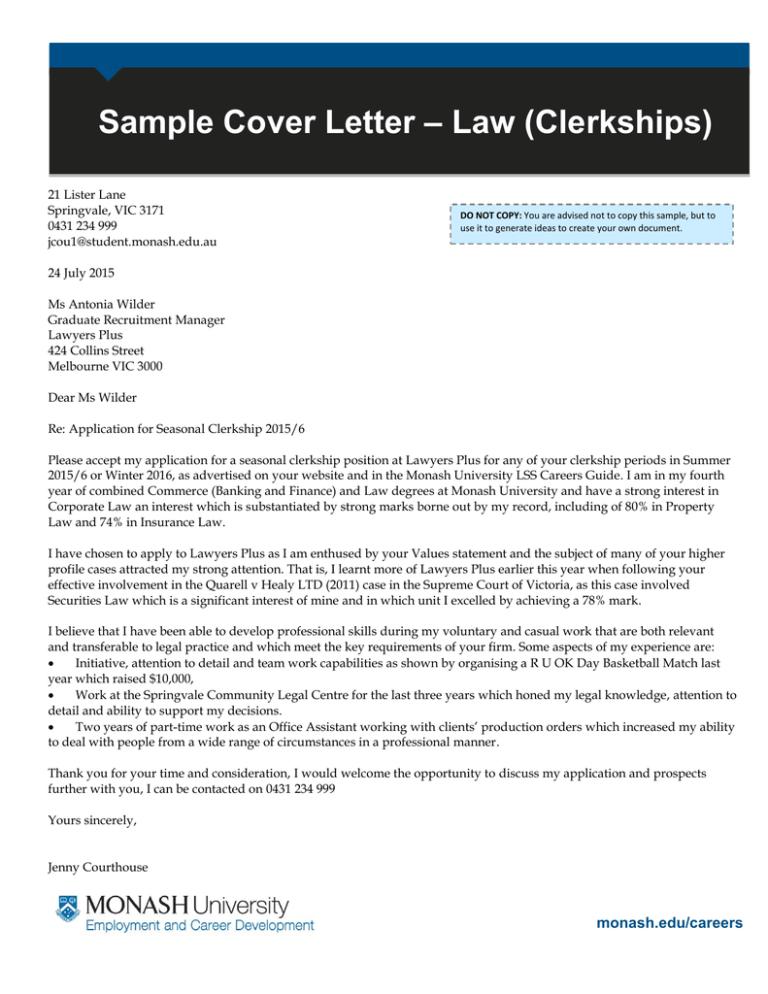 Law Clerkships Sample Cover Letter