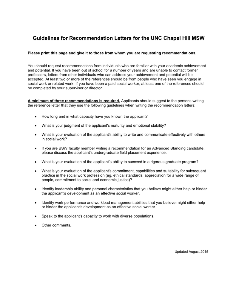 guidelines for recommendation letters for the unc chapel
