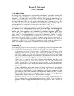 Research Statement Glenn R. Blauvelt Dissertation Work