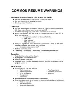 COMMON RESUME WARNINGS