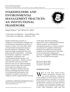 STAKEHOLDERS AND ENVIRONMENTAL MANAGEMENT PRACTICES: AN INSTITUTIONAL
