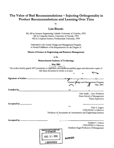Product  Recommendations  and Learning Over Time -