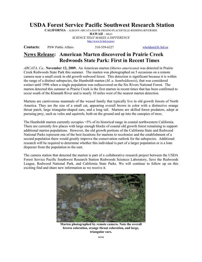 USDA Forest Service Pacific Southwest Research Station News
