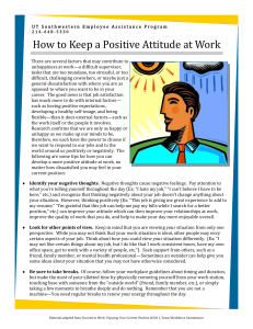 How to Keep a Positive Attitude at Work
