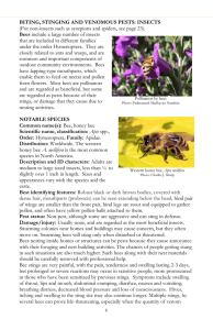 BITING, STINGING AND VENOMOUS PESTS: INSECTS Bees