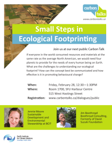 Small Steps in Ecological Footprinting