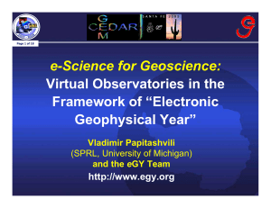 "e-Science for Geoscience: Virtual Observatories in the Framework of ""Electronic Geophysical Year"""