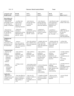 Rubric For Characterization Essay – 679525