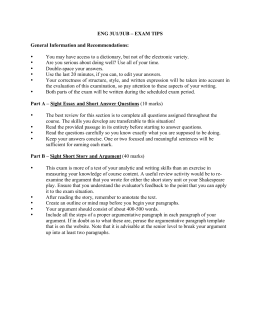 ENG 3U1/3UB – EXAM TIPS General Information and Recommendations: