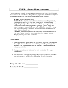ENG 2D1 – Personal Essay Assignment