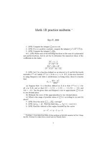 Math 1B practice midterm ∗ Sep 27, 2009
