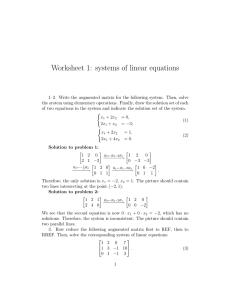 Worksheet 1: systems of linear equations