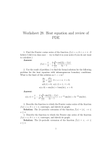Worksheet 28: Heat equation and review of PDE