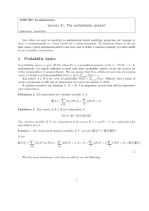 Lecture 11: The probabilistic method
