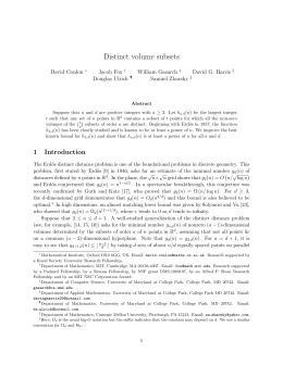 Distinct volume subsets David Conlon Jacob Fox William Gasarch