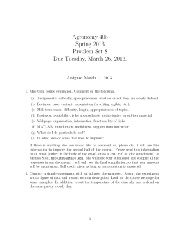 Agronomy 405 Spring 2013 Problem Set 8 Due Tuesday, March 26, 2013.