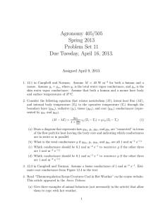 Agronomy 405/505 Spring 2013 Problem Set 11 Due Tuesday, April 16, 2013.