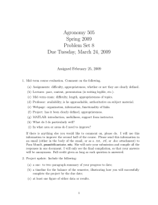 Agronomy 505 Spring 2009 Problem Set 8 Due Tuesday, March 24, 2009