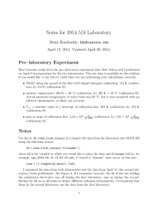 Notes for 2014 518 Laboratory. Pre–laboratory Experiment Brian Hornbuckle,