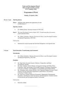 Programme of Work Trade and Development Board Sixty-second executive session 25–27 January 2016