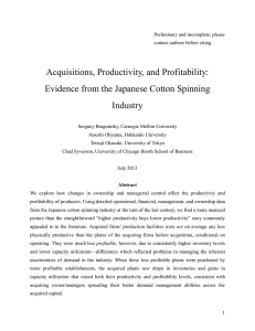 Acquisitions, Productivity, and Profitability: Evidence from the Japanese Cotton Spinning Industry