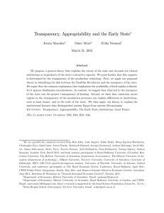 Transparency, Appropriability and the Early State ∗ Joram Mayshar Omer Moav