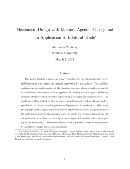 Mechanism Design with Maxmin Agents: Theory and Alexander Wolitzky Stanford University