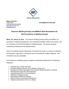 American Welding Society and WEMCO Seek Nominations for