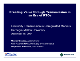 Creating Value through Transmission in an Era of RTOs Carnegie-Mellon University