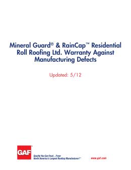 Mineral Guard U0026amp; RainCap Residential Roll Roofing Ltd. Warranty Against