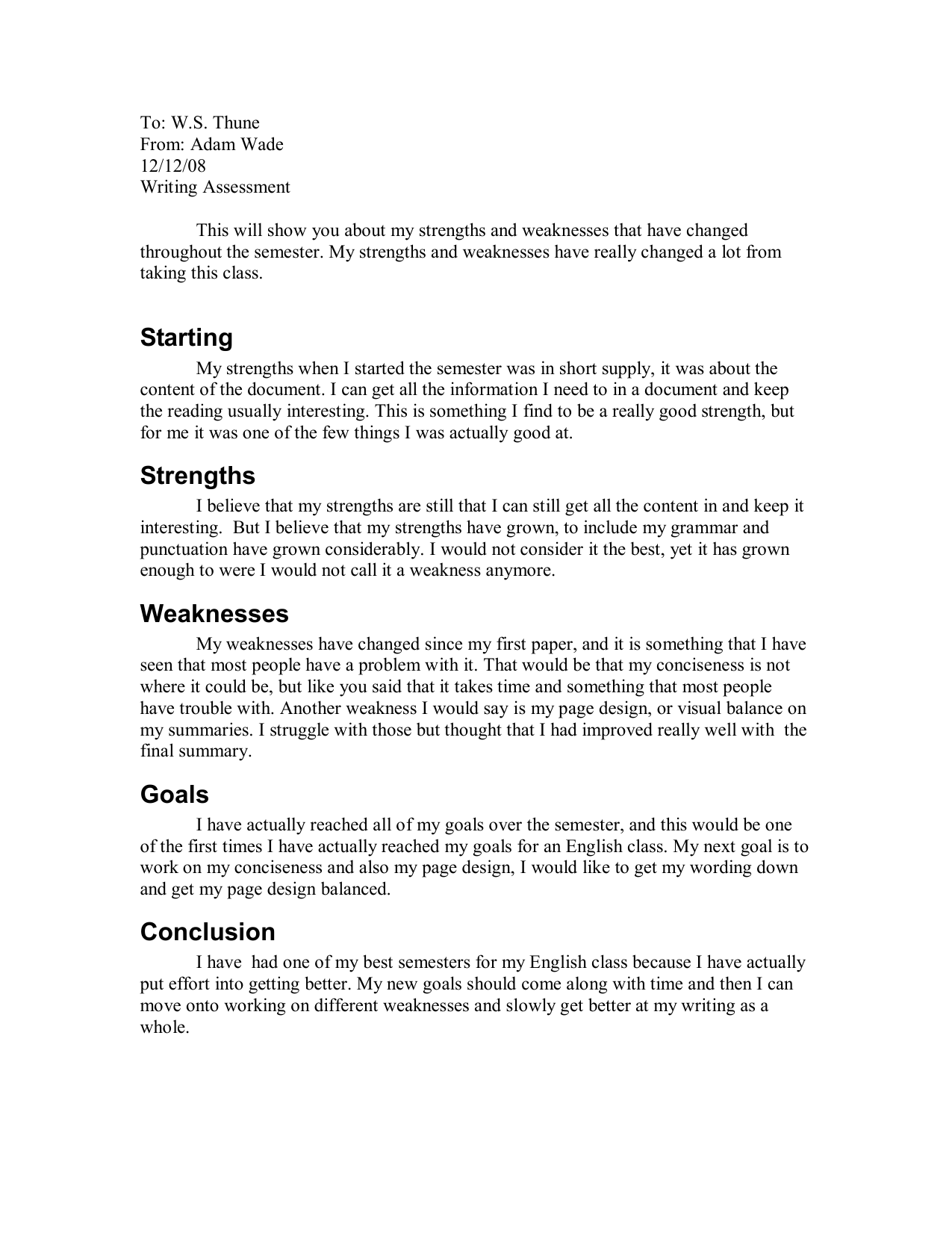 Strengths as a writer essay