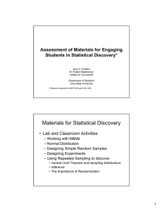 Materials for Statistical Discovery Assessment of Materials for Engaging