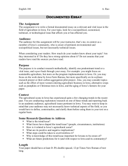 Documented essay the assignment