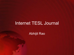 Internet TESL Journal Abhijit Rao