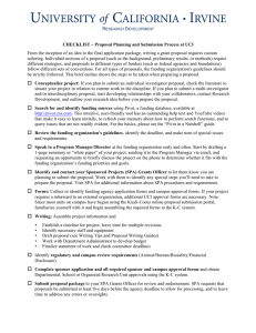 R D CHECKLIST – Proposal Planning and Submission Process at UCI