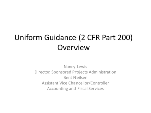 Uniform Guidance (2 CFR Part 200) Overview