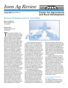 T Iowa Ag Review Payment Limitations and U.S. Farm Policy