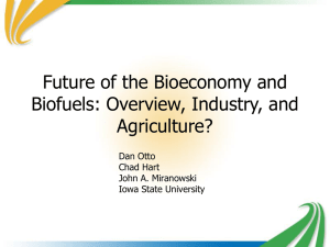 Future of the Bioeconomy and Biofuels: Overview, Industry, and Agriculture? Dan Otto