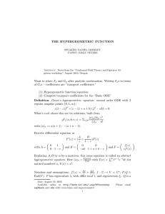 THE HYPERGEOMETRIC FUNCTION