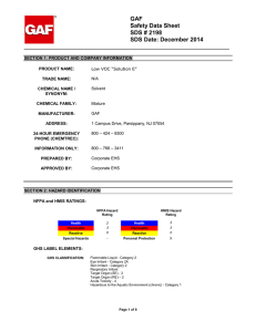 Gaf Safety Data Sheet Sds 2190 Sds Date December 2014