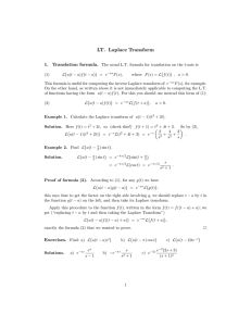 LT. Laplace Transform 1. Translation formula.
