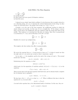 18.03 PDE.3: The Wave Equation ∂ u 1.